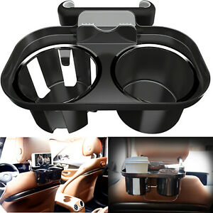 Black Car Seat Seam Wedge Mount Cup Stand Holder Food Drink Storage Organizer