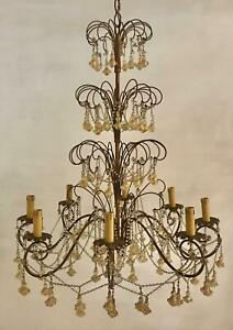 Large Vintage Murano Macaroni Crystal Beaded Chandelier From The 1950 S