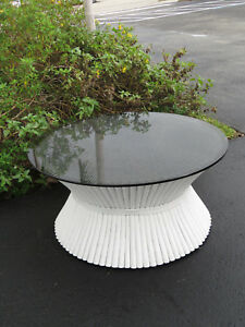 Mid Century Modern Bamboo Vintage Round Glass Top Coffee Table 9464