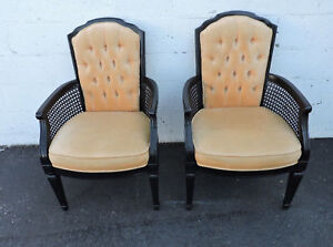 French Caned Painted Black Pair Of Living Bed Room Side Chairs 7637