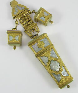 Rare Antique French Gold Gilt Chatelaine Etui Sewing Implements Mother Of Pearl