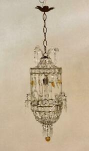 Vintage Italian Crystal Beaded Chandelier With Golden Murano Glass Drops