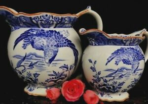Set Of Antique English Transferware Blue White Pitchers