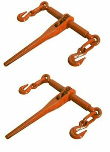 2 Pack Ratcheting Load Binder 5 16 3 8 Chain Ratchet Boomer Tie Down Rigging