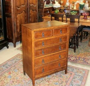 English Tiger Oak Arts Crafts Small 6 Drawer Chest Bedroom Furniture
