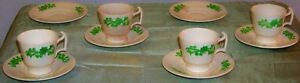 Group 1928 Copeland Spode Shamrock Demitasse Cups And Saucers