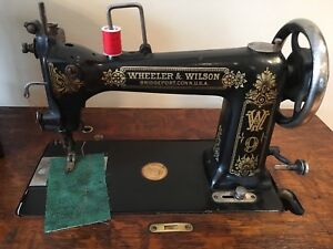 Antique Wheeler Wilson 9 Sewing Machine Treadle Table Gorgeous