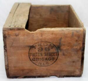 Antique From 96 Fulton Street Chicago Ills Wood Wooden Shipping Crate Box