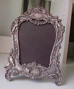 Antique Rococo Sterling Silver Large Picture Frame Putti Fairy Birds Wedding
