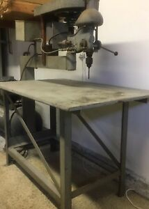 Drill Press Industrial Type 110v 3 Foot Arbor Mfg By Henry Lange Machine Works