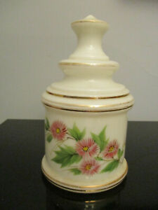 Antique Bristol Hand Painted Floral White Glass Apothecary Candy Cookie Jar Urn