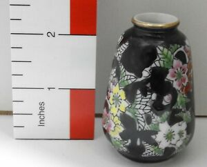 Wales Japan Miniature 2 3 8 Inch Floral Vase Hand Painted Ceramic Old Vintage