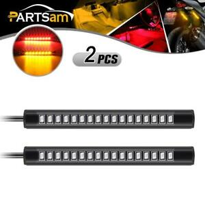 2x 17led Amber Red Motorcycle Led Turn Signal Stop Reverse Tail Led Strip Light