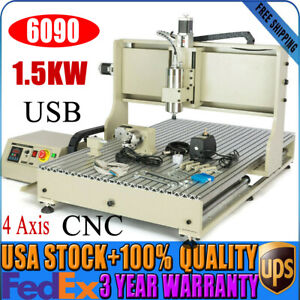 Usb 4 Axis 6090 Cnc Router Engraver 1 5kw Vfd Engraving Milling Machine 220v
