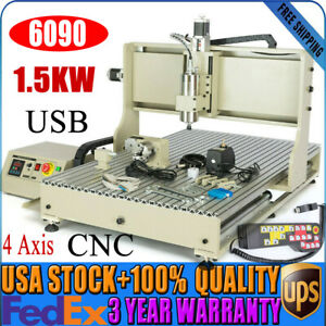 4 Axis 1500w Cnc 6090 Router 3d Usb Engraver Milling Drilling Machine handwheel