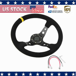 350mm 14 Deep Dish 6 Bolt Jdm Racing Steering Wheel Horn Button Suede Leather Ll