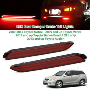 2pcs Red Lens Led Rear Bumper Reflector Lights Taillight For Toyota Sienna Venza