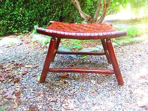 Foot Stool 1920 S 30 S Adirondack Signed Old Hickory Genuine Patina Original