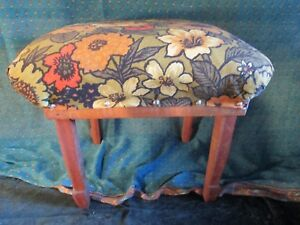Antique Carved Foot Stool With Barkcloth Floral Top Footstool