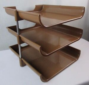 Vintage Desk Organizer Brown 3 Tier Paper Holder Mail Sorter