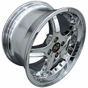 Chrome 17 Wheel W rivets Fits Mustang Cobra R Deep Dish Style Rim 17x9