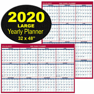 At a glance Pm326 28 2020 Yearly Planner Large Dry Erase Wall Calendar 32 X 48