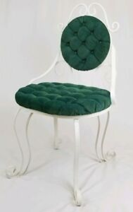 Vintage Wrought Iron And Velvet Vanity Chair Seat Hollywood Regency Mid Century