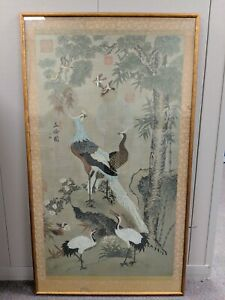 Antique 19c Chinese Cranes In Garden Painting On Silk 7 Seals