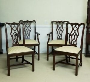 Set Of Four Henkel Harris Chairs Mahogany Chippendale 115