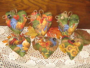 6 Rooster Pumpkin Fabric Hearts Bowl Fillers Autumn Country Kitchen Home Decor
