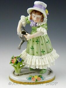 Antique Dresden Volkstedt Germany Lace Figurine Girl Watering Can Flowers As Is