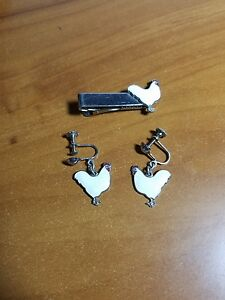 Vintage White Leghorn Chicken His Hers Screw On Earrings Tie Clasp