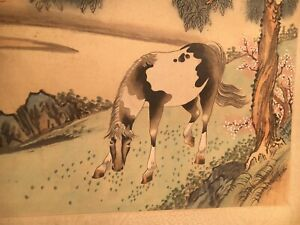 Antique 19 20th Century Chinese Scholar Painting Horse On Silk