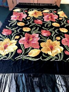 Vintage Silk Embroidered Piano Scarf Table Cover Shawl Hand Knotted Silk Fringe