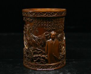 12cm Collect Chinese Boxwood Handmade Great Maozedong Wooden Sculpture Acpu