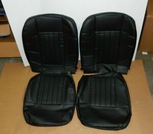 New Front Seat Covers Seat Upholstery For Mgb 1963 1968 Black Vinyl W Black Trim