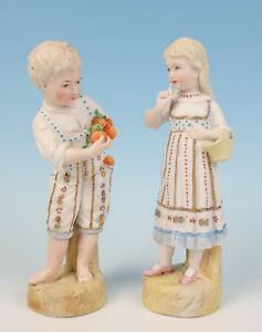 Quality Pair Antique German Bisque Figurine Boy Fruit Seller W Girl Porcelain