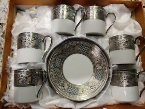 Espresso Coffee Set 12pc Cups Saucers Fine Italian Design China Silver