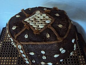 Old Kuba Headdress 1 With Stand Kuba Cloth Cowrie Raffia Rare African Textile