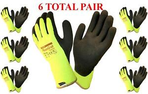 Powergrab Thermo Lined Winter Work Glove Lime 41 1400 Choose Size 6 Pair