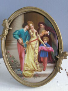 19c Victorian Hand Oil Painting Kpm Porcelain Portrait Plaque Figure Group Woman