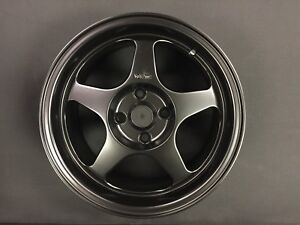15x7 5 Black Fat Lip Spoon Style Wheels For Honda Civic Integra Miata 4x100