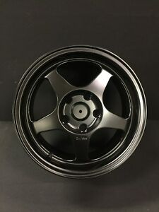 15x7 5 Black Fat Lip Spoon Style Wheels For Integra Type R 5x114 Suspension