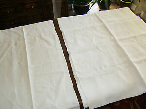 Lot 2 Vintage Antique Hand Machine Embroidered Tablecloths Off White Linen