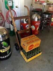 Coca Cola ICE COLD Earlier 1900s Dolly Oak Cast Iron Restored With Box And Crate