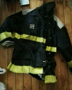 Firefighter Chieftain 2000 35m Turnout Bunker Coat Sz Large Black Costume