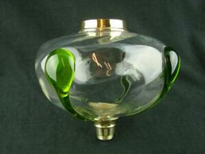 Fabulous Antique Art Glass Oil Lamp Font Clear Swirl Glass With Applied Decor
