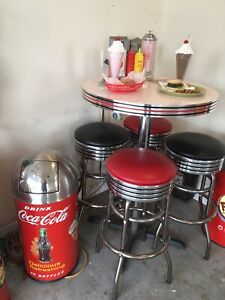 Coca Cola ICE COLD Soda Pop High Table Malt Shop 1950s Retro Diner Table