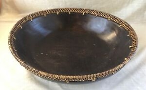 Large Carved Dark Wood Bowl With Rattan Basket Weave Edge Bali
