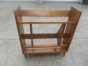 Vintage Mid Century Modern Teak Bookcase Shoe Rack Peg Leg Book Shelf